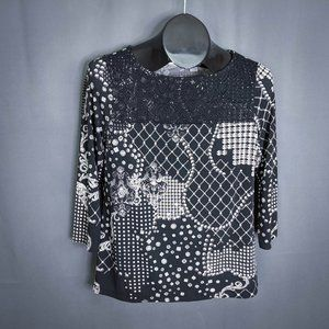 Chicos Womens Top Shirt Size 0 Small Black Lace